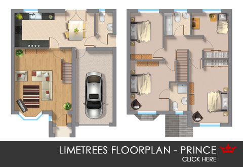3D floorplan of the Prince new build home in Pontefract