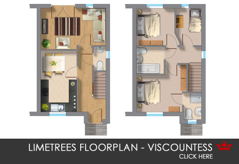 3D floorplan of the Viscountess. A new build home in Pontefract